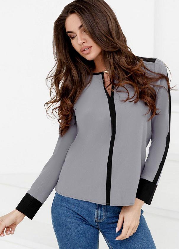 Контрастная шифоновая блуза 24691 Gepur M Серый