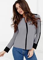 Контрастная шифоновая блуза 24691 Gepur XL Серый, фото 1
