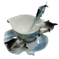Чайная чашка, ложка и блюдце Дельфин