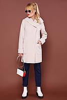 Стильное демисезонное женское пальто с широким капюшоном П-3к бежевое