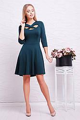 Женское короткое платье с красивым декольте и пышной юбкой Криста д/р зеленое