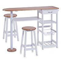 Комплект кухонний меблів 3в1, барний стіл, полиця + 2 табуретки, ZELLER, білий, бамбук, 118х38х89 см.(23657)