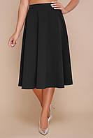 Стильная черная юбка-миди на талию фасона полусолнце мод. №19К