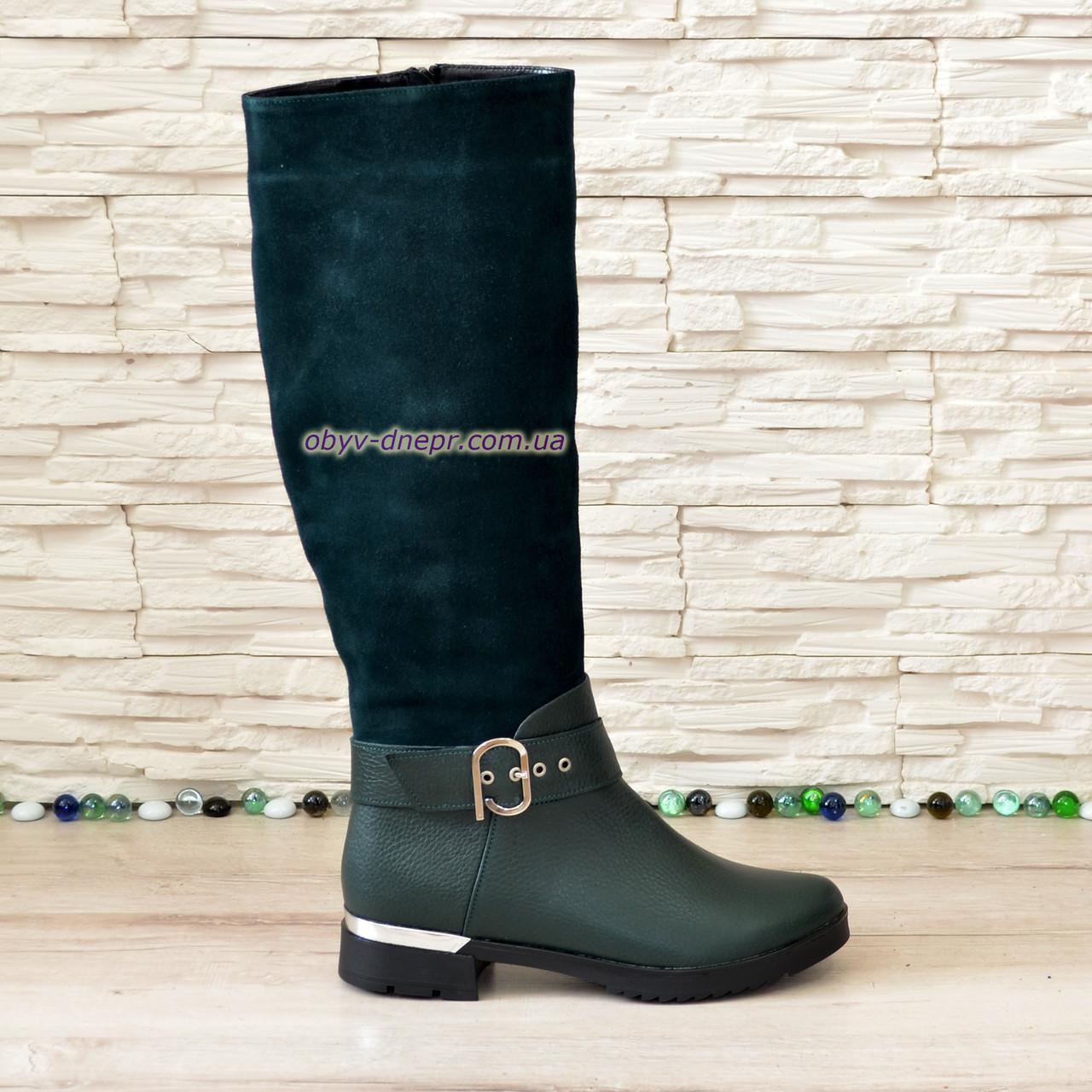 Сапоги женские зимние на невысоком каблуке, натуральная кожа флотар и замша