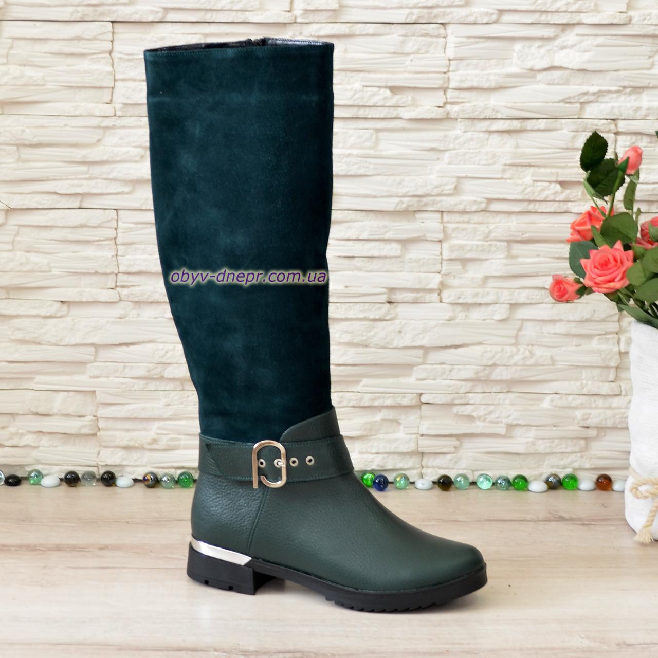 Сапоги женские демисезонные на невысоком каблуке, натуральная кожа флотар и замша