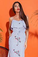 Женский сарафан вышивка 26235 Gepur L Бело-синий, фото 1