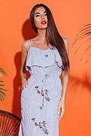 Женский сарафан вышивка 26235 Gepur S Бело-синий, фото 1