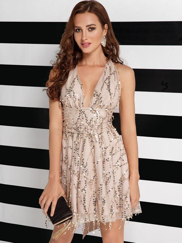 Силуэтное вечернее платье 25774 Gepur M бежевый