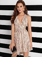 Силуэтное вечернее платье 25774 Gepur M бежевый, фото 1