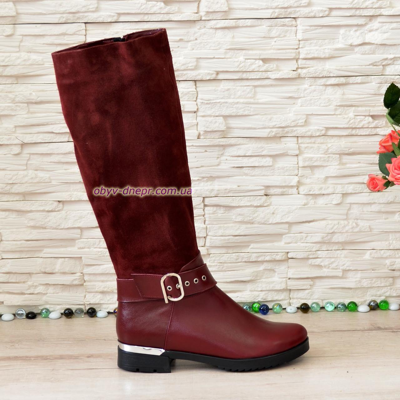 Сапоги зимние бордовые на невысоком каблуке, натуральная кожа и замша