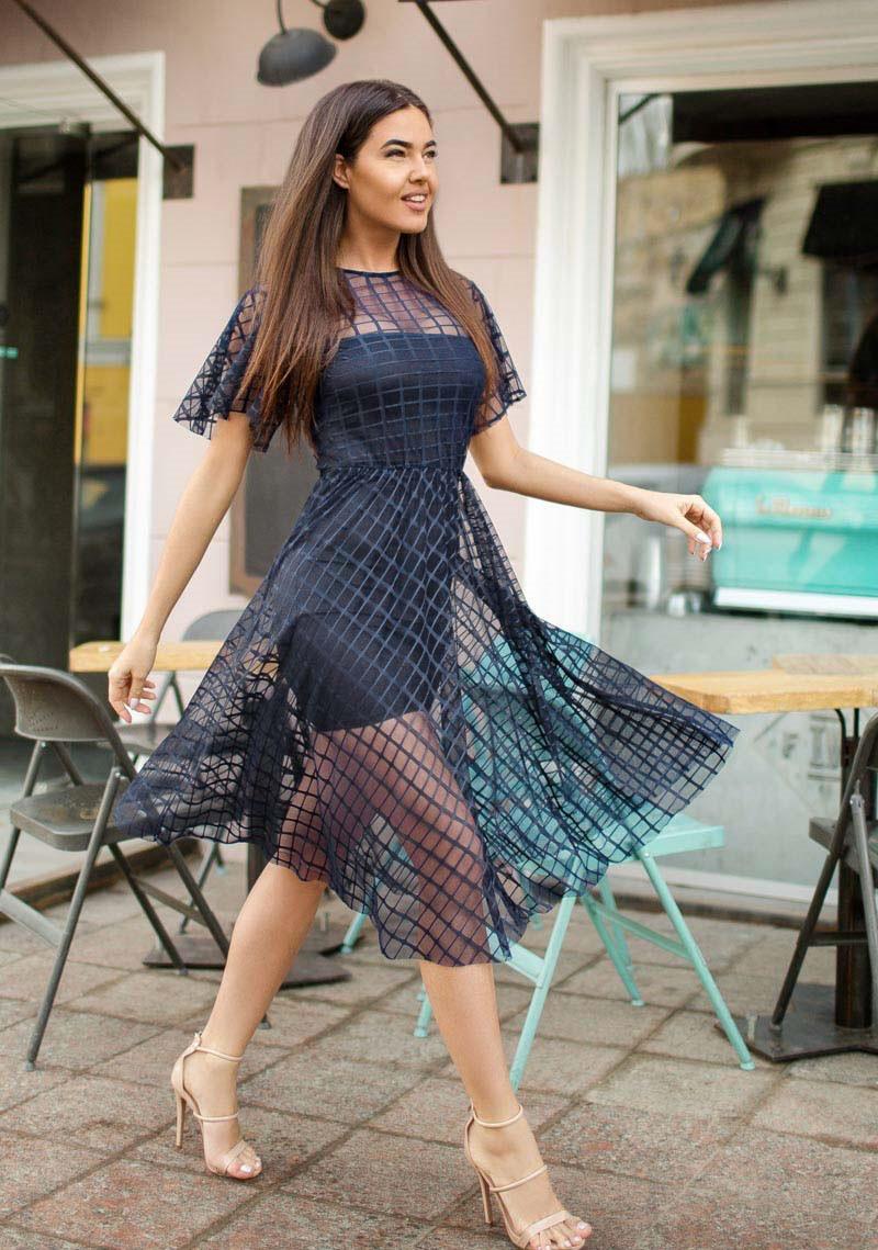 Воздушное платье-сетка 26056 Gepur S Синий