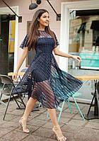 Воздушное платье-сетка 26056 Gepur S Синий, фото 1