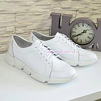 Мужские кожаные белые кроссовки на шнуровке, фото 1