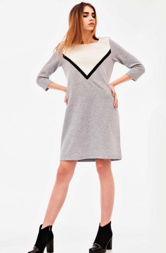 Платье 30778 Goldi M Серо-белый с черным