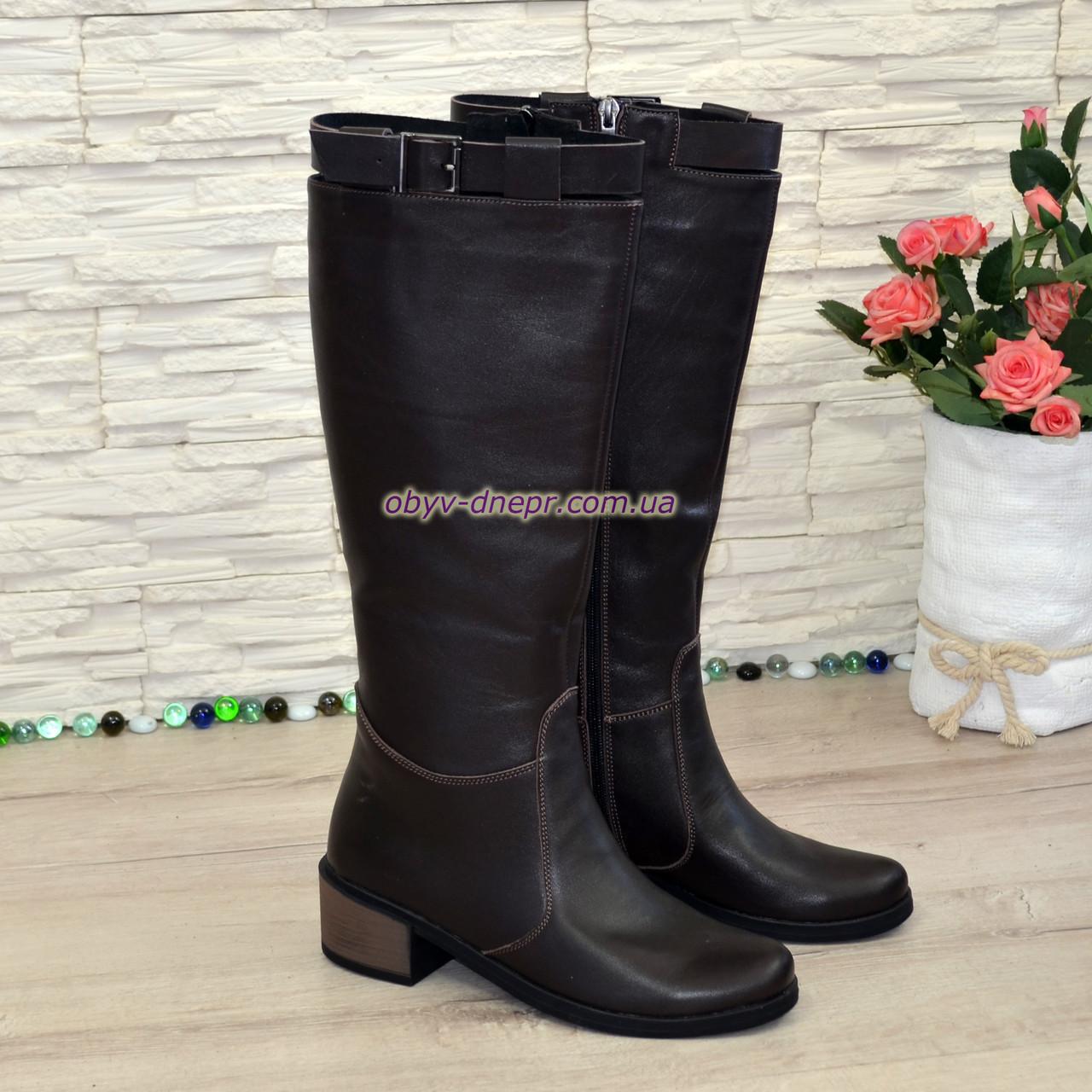 Сапоги коричневые женские зимние кожаные на невысоком устойчивом каблуке