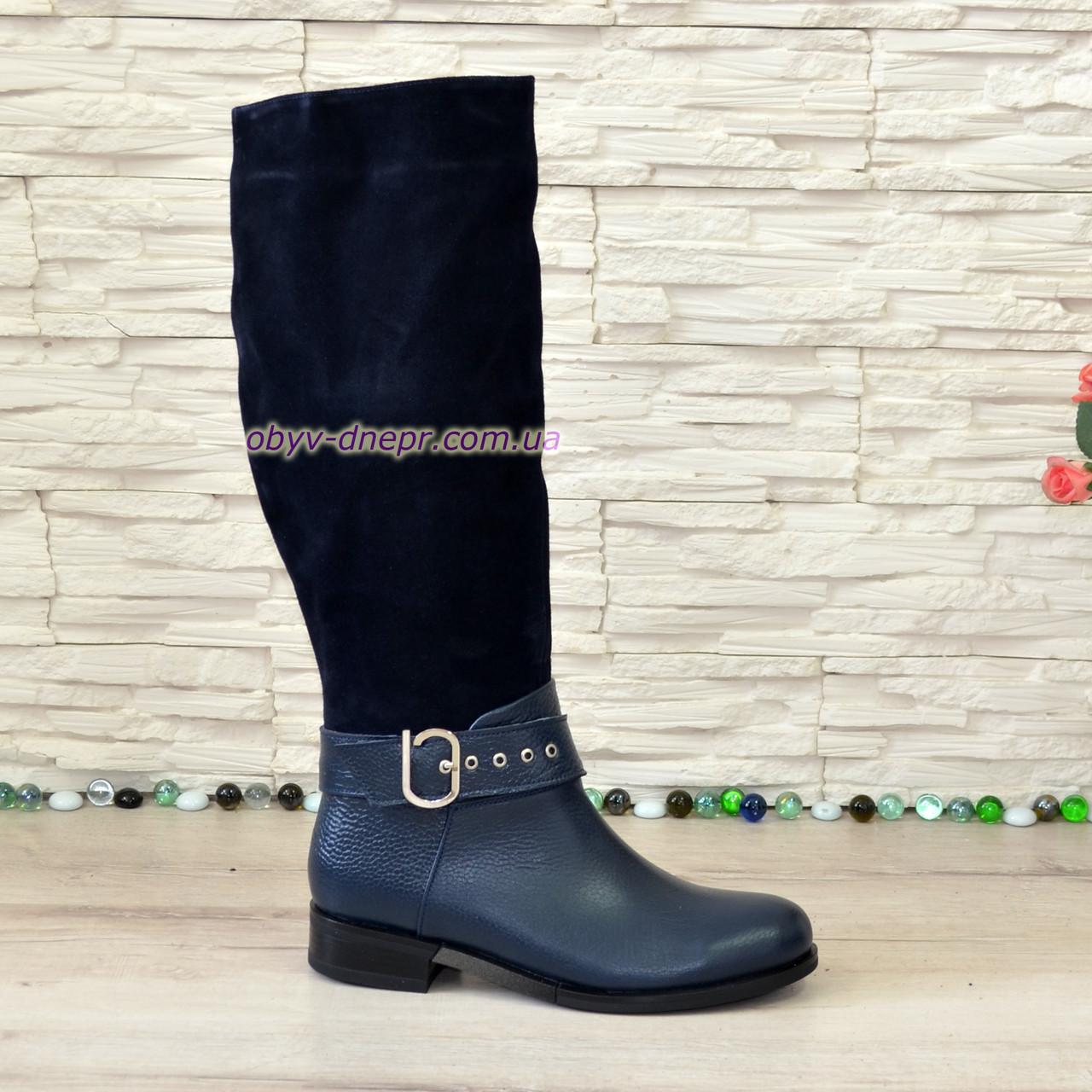 Сапоги зимние синие на невысоком каблуке, натуральная кожа флотар и замша
