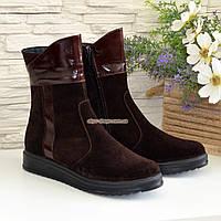 Ботинки замшевые женские зимние на плоской подошве, декорированы кожаными вставками
