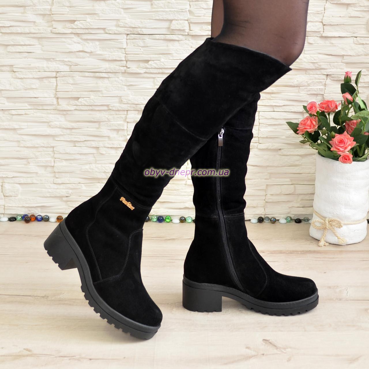Женские зимние замшевые ботфорты на устойчивом каблуке, цвет черный