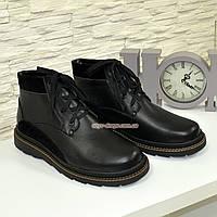 Ботинки мужские черного цвета на шнуровке, натуральная кожа и замш, фото 1