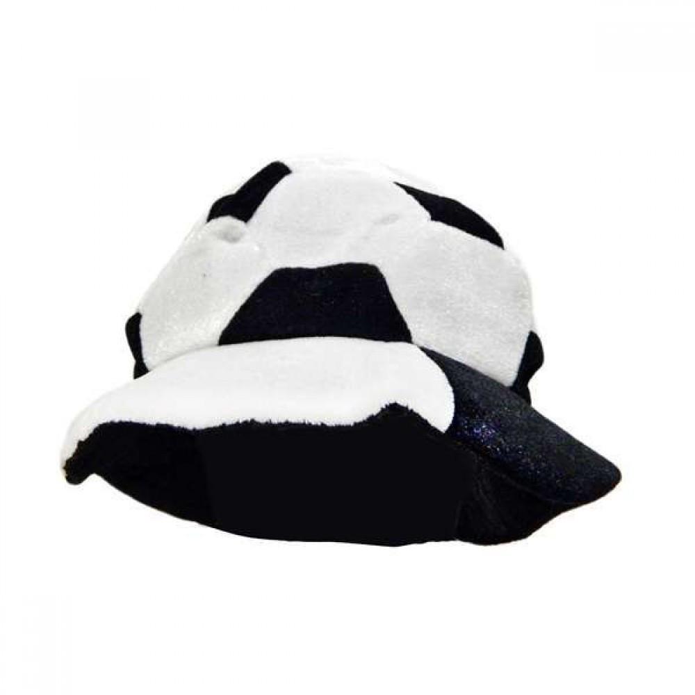 Шапка Футбольный мяч велюр черно белая