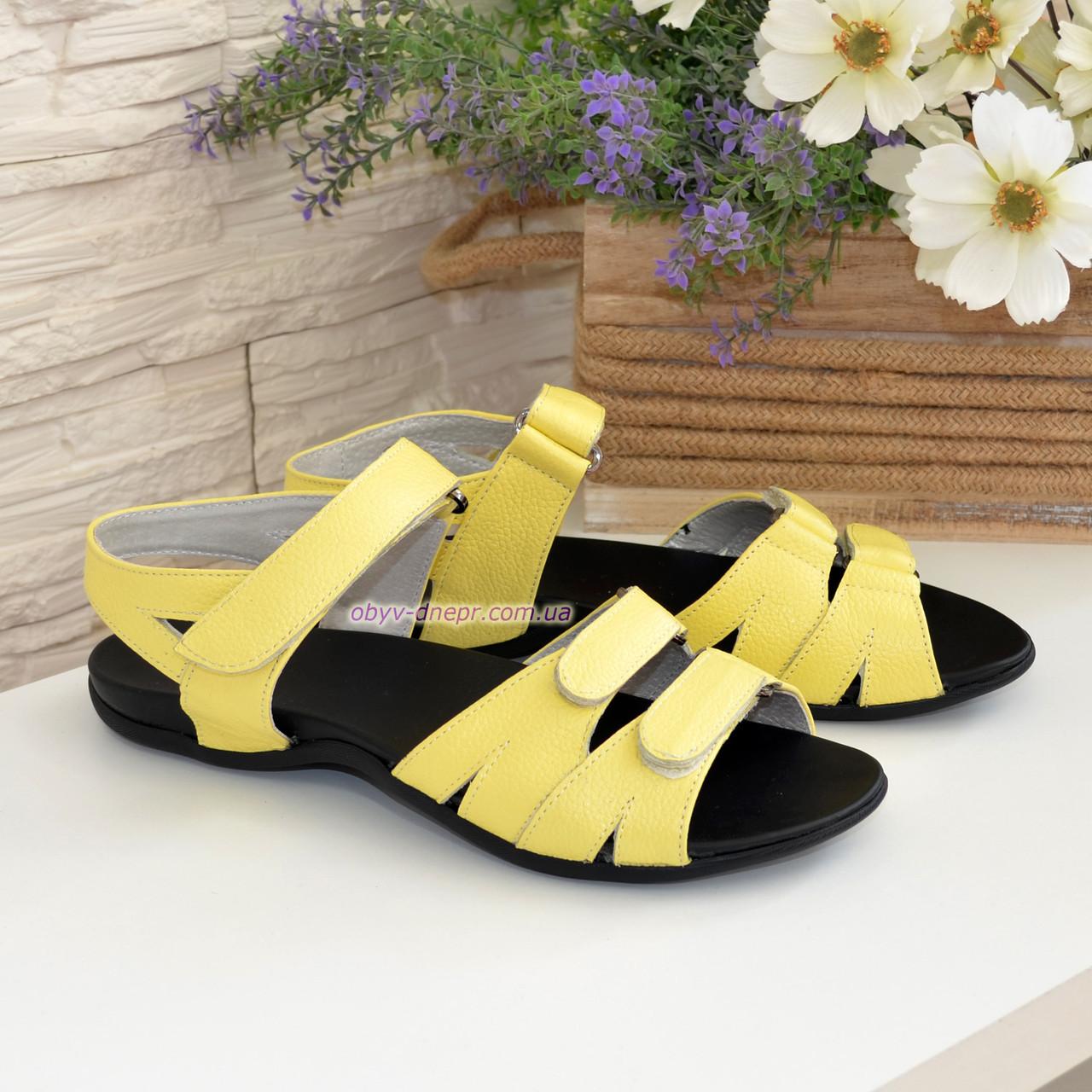 Женские босоножки на липучках из натуральной кожи флотар желтого цвета, плоская подошва