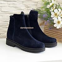 Ботинки женские замшевые демисезонные на маленьком каблуке, цвет синий, фото 1