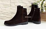 Ботинки женские замшевые демисезонные, из натуральной замши коричневого цвета, фото 4