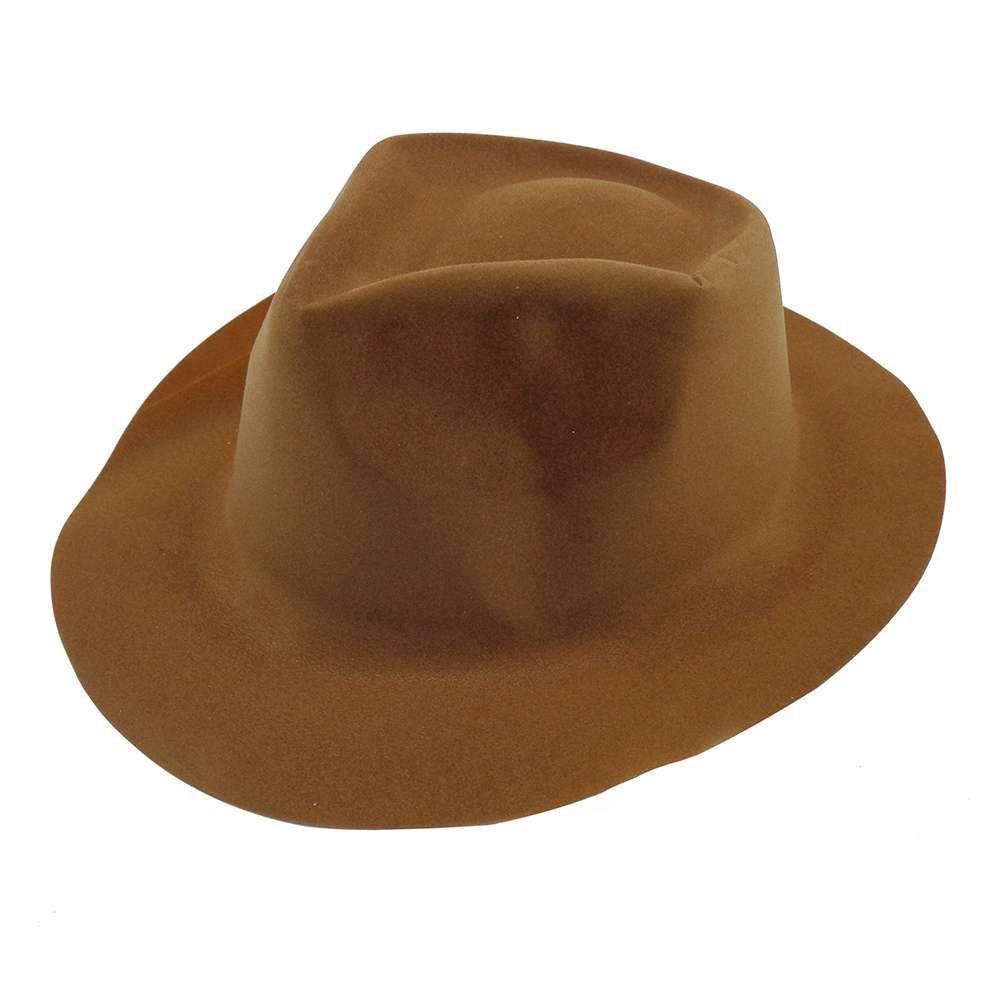 Шляпа Мужская флок коричневая
