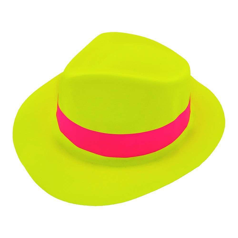 Шляпа Мужская пластик с лентой желтая