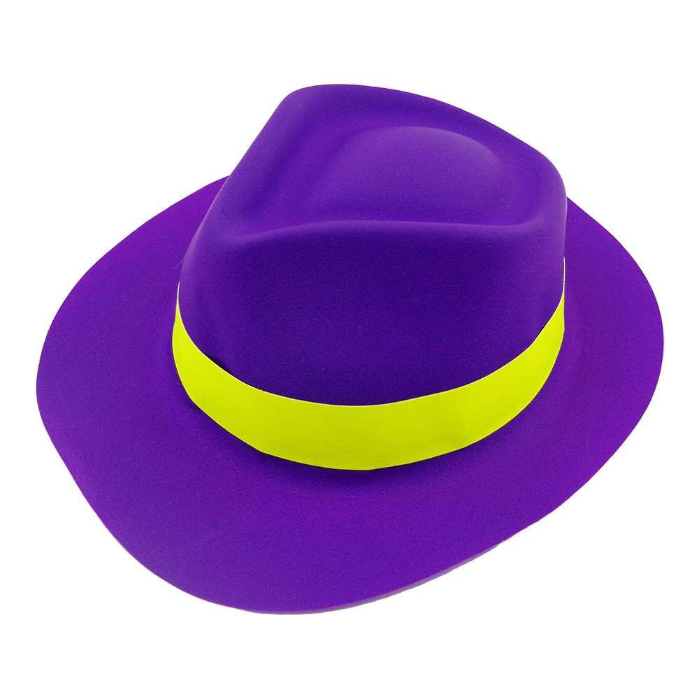 Шляпа Мужская пластик с лентой фиолетовая