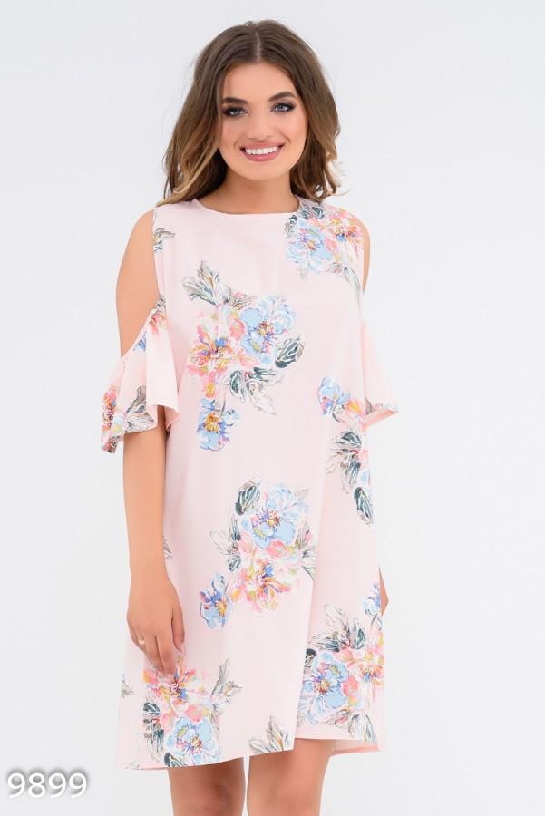 Прямое платье с округлыми вырезами на плечах 9899 Issa Plus L Розовый
