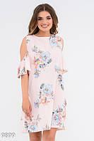 Прямое платье с округлыми вырезами на плечах 9899 Issa Plus L Розовый, фото 1