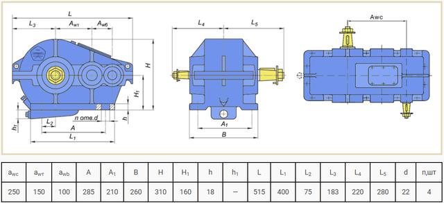 Габаритні розміри редуктора Ц2-250 креслення