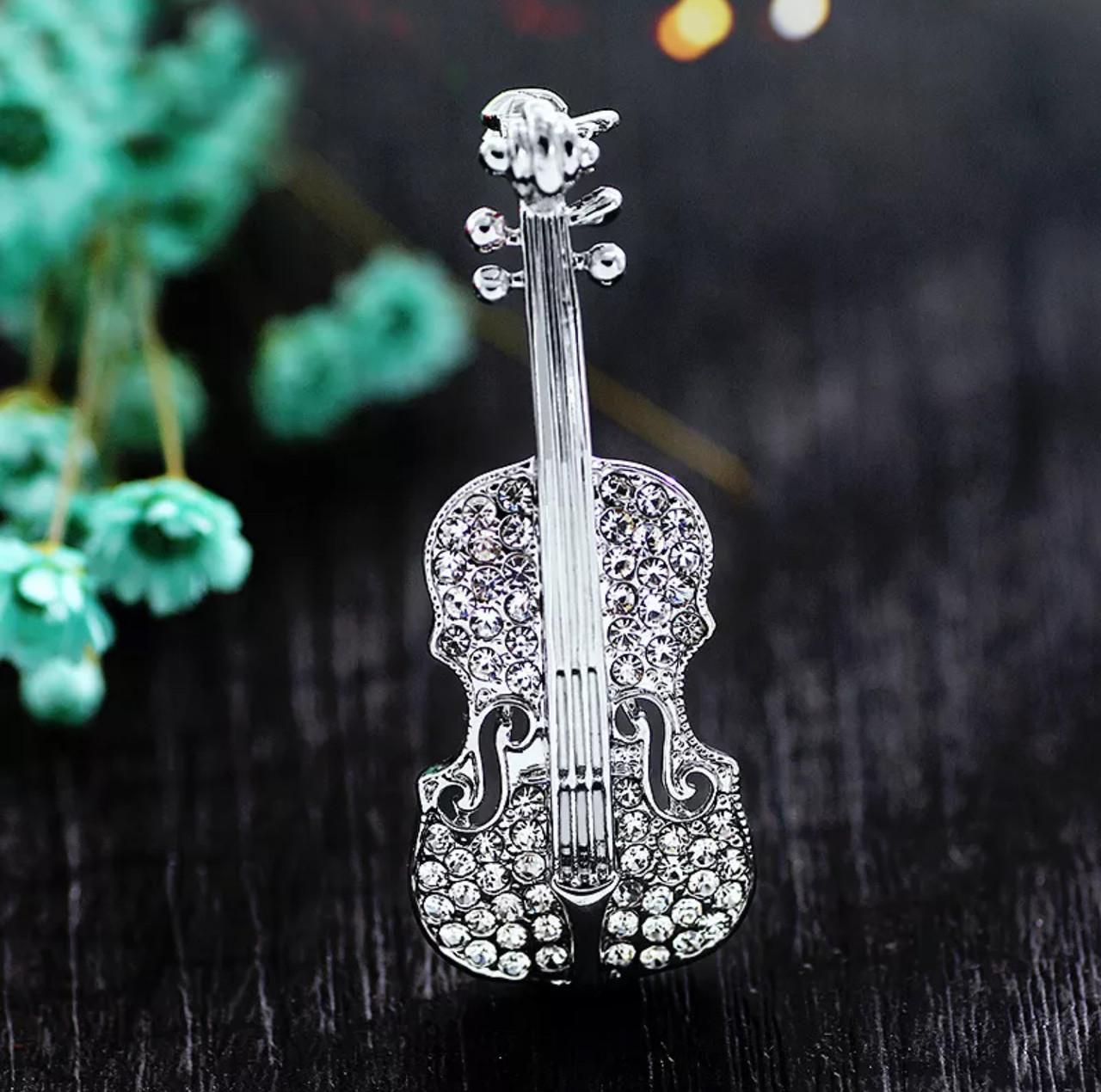 Брошь женская «Violin» серебро в форме скрипки с камнями для девушек