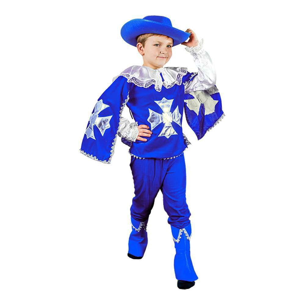 Маскарадный костюм Мушкетер синий размер S