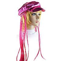 Кепка женская с косичками розовая, фото 1