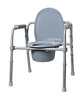 Крісло-стілець з санітарним оснащенням Рідні Care, регульоване за висотою, складане , фото 1