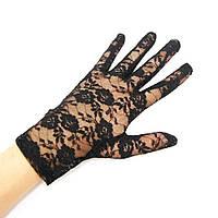 Перчатки гипюровые короткие черные
