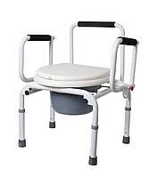 Крісло-стілець з санітарним оснащенням Рідні Care, регульоване за висотою, з відкидними підлокітниками, фото 1