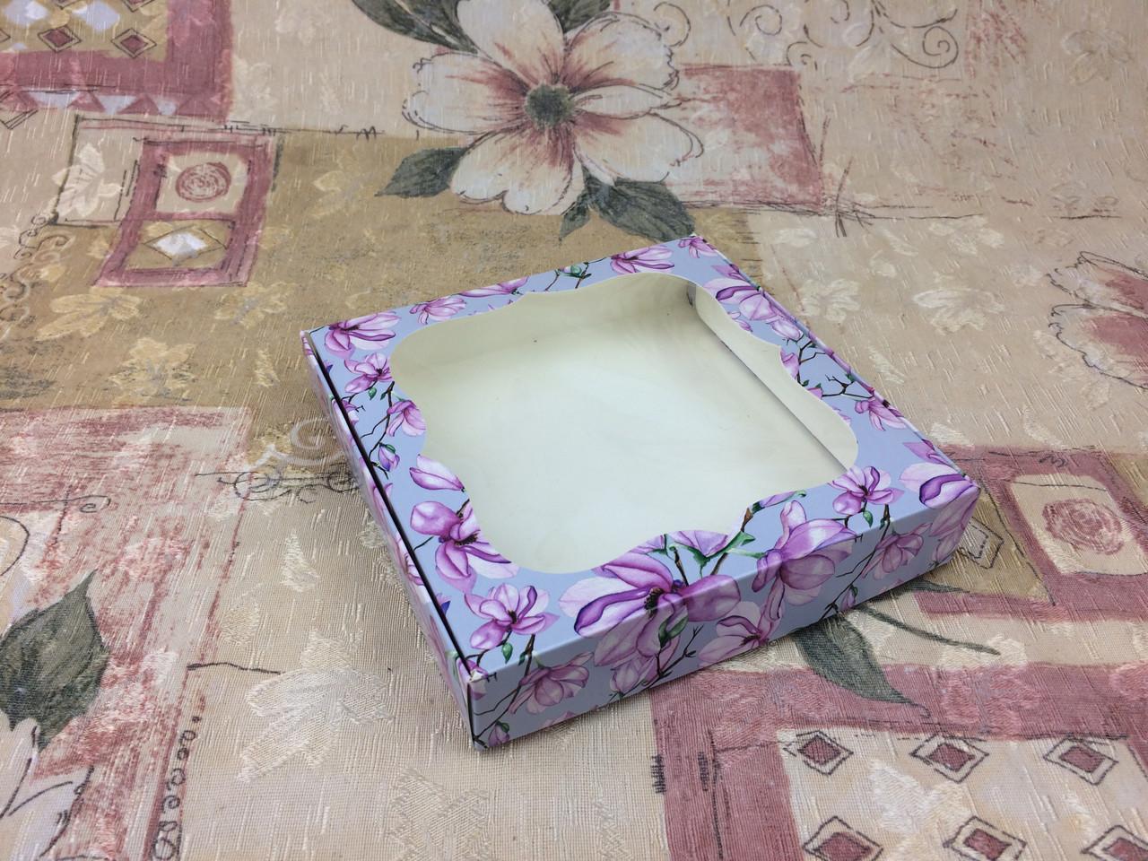 Коробка для пряников / 200х200х30 мм / печать-Магнол / окно-обычн / лк / цв