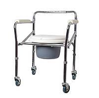 Крісло-стілець з санітарним оснащенням Рідні Care, регульоване за висотою, на колесах складане, фото 1