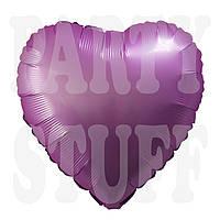 Фольгированный шарик сердце сиреневое сатин, 44*45 см