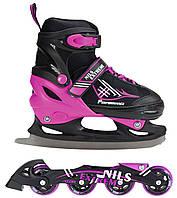 Роликовые коньки Nils Extreme NF7104A 2 в 1 Size 34-37 Black/Violet