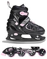 Роликовые коньки Nils Extreme NF7103A 2 в 1 Size 30-33 Black/Pink, фото 1