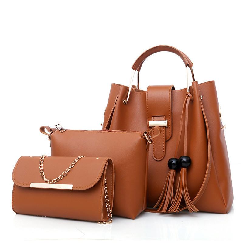 ca789f1631be Набор женских сумок 3в1 коричневый из качественной экокожи с косточками