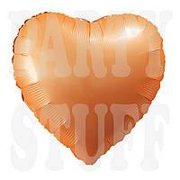 Фольгированный шарик Сердце персик сатин неон, 44*45 см