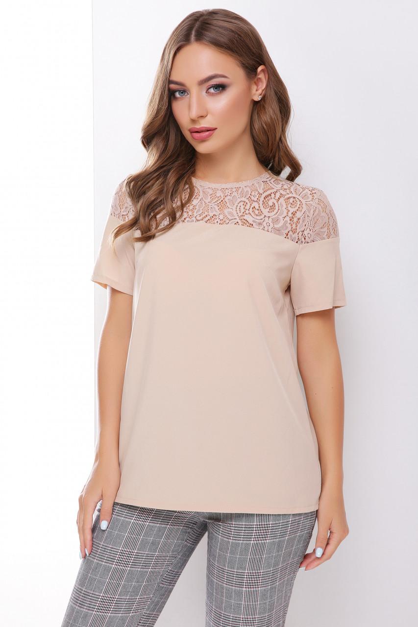 Легкая женская нарядная блузка с кружевом, короткий рукав бежевая
