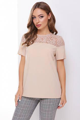 Легкая женская нарядная блузка с кружевом, короткий рукав бежевая, фото 2