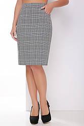 Женская офисная прямая юбка до колен серая в синюю клетку