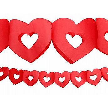 Гирлянда 3D Сердечко с вырезом красное